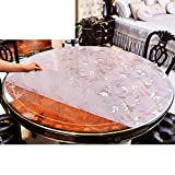 XKQWAN Round tablecloth waterproof Oil-proof Disposable Pvc Soft glass table mat Pad Crystal plate Hotel tablecloth table pad-C diameter70cm(28inch)