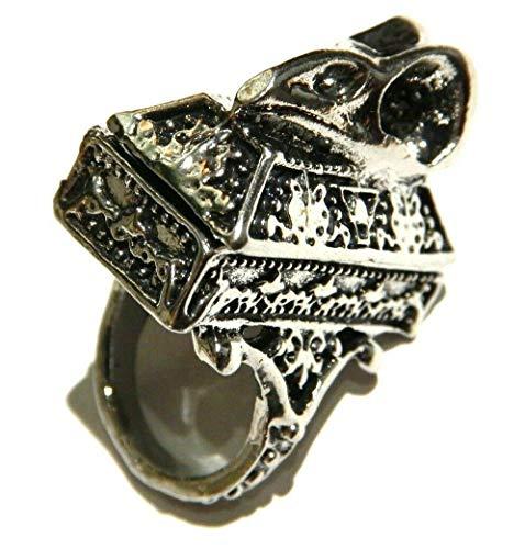 (Bird Skull & Casket Poison Ring Gothic Box Locket Chunky Gothic Ring Size US 6)