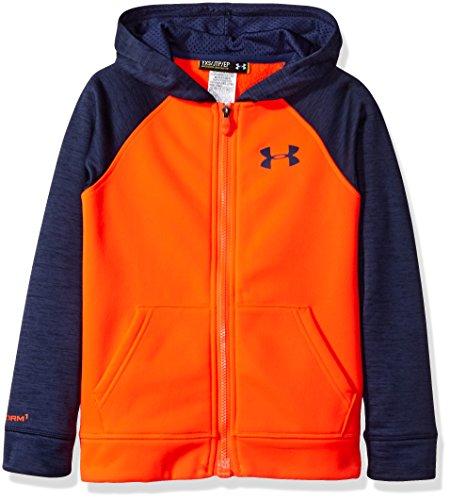 (Under Armour Boys' Armour Fleece Storm Mag Zip Hoody Bolt Orange / Blue Knight / Blue Knight Medium)