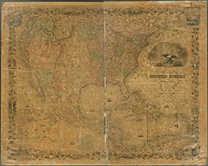 Amazon.com: Historic 1850 Map   Map of the United States of America ...