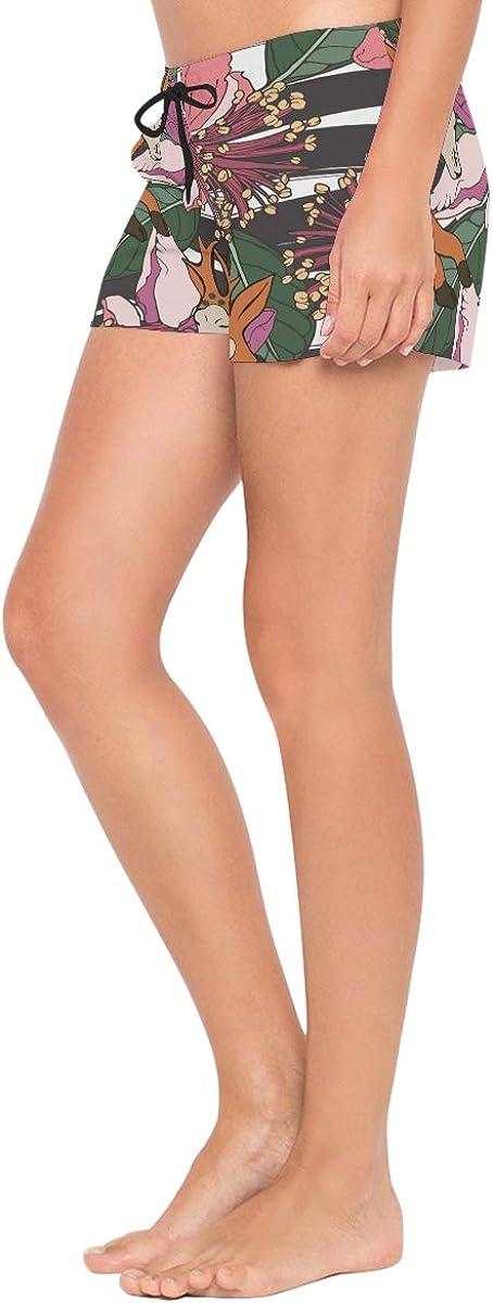 HEOEH Womens Deer Flower Pattern Beach Shorts Pants Ladies Boardshort Swimming Trunks