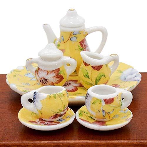 Odoria 1:12 Miniature 8PCS Porcelain Tea Cup Set Yellow Lily Chintz Dollhouse Kitchen Accessories