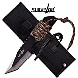 Survivor HK-106320TN Fixed Blade Outdoor Knife, Black Tanto Blade, Two-Tone Tan Cord-Wrapped Handle, 7-Inch Overall For Sale