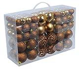 100 braune Weihnachtskugeln (matt, glitzernd, glänzend)