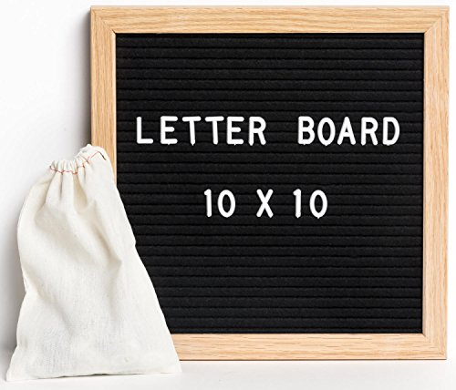 CTR Marketing Letter Board - 10x10 Black Felt Message Board - Office, Business or Home Decoration - Display Sign - Spelling Board - 340 Characters, Letters, and Emojis
