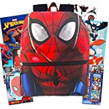 Marvel Spiderman Backpack Set Toddler Preschool -- 11' Mini Spiderman Backpack with Super Hero Coloring Books, Stickers, Temporary Tattoos and More (Travel Activities Pack for Toddlers Kids)