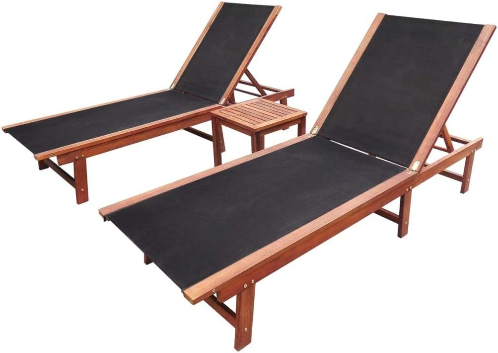 Sun Loungers 2 pcs with Table Solid Acacia Wood and: Amazon