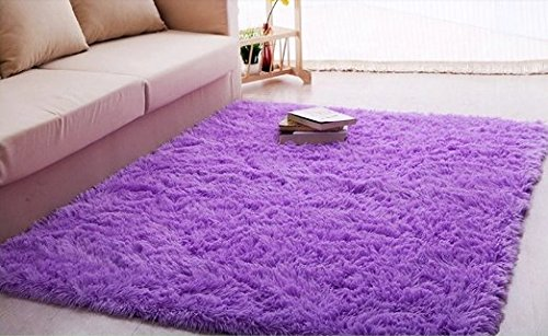Ultra Soft 4.5 Cm Thick Indoor Morden Area Rugs Pads, New Arrival Fashion Color [Bedroom] [Livingroom] [Sitting-room] [Rugs] [Blanket] [Footcloth] for Home Decorate. Size: 4 Feet X 5 Feet (Purple)