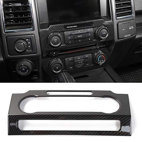 Panel Trim Center (Voodonala Carbon Fiber Grain Central Control Volume Panel Decorative Trim for Ford F150 2015 2016 2017)