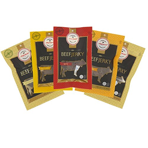 Hot Jerky Seasoning Kit - Aufschnitt Beef Jerky - Variety Pack - 5 pack (2 oz each) - Kosher, Glatt, Star-K Certification, Gluten Free, All Natural, No Nitrites, Grass Fed Beef