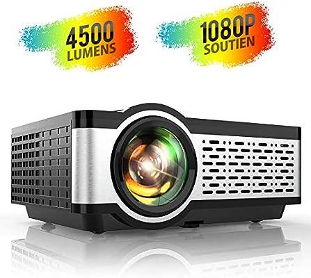 Proyector, TOPTRO Mini Proyector Portátil de Cine en Casa 4500 Lúmenes Soporte Full HD 1080P con Altavoces Estéreo HiFi, Cubierta de Metal, Sistema de ...
