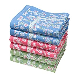 « Emily » fine Floral handkerchiefs – 14″ Square – Bag of 6 Units