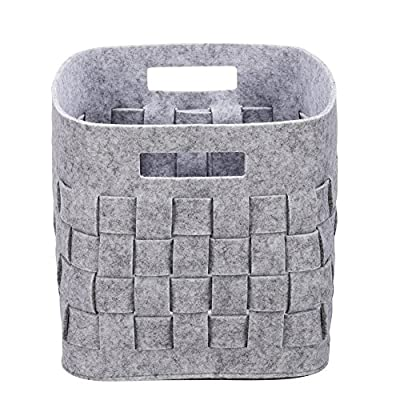 Handmade Foldable Baby Toy Book Snacks Organizer Storage Basket Multifunctional Collapsible Felt Storage Bin Container with Handle Light Grey - 100% handmade 5mm thickness felt storage baskets, it's environmental friendly. Wear-resistant material, it can be used for a long time. The large capacity storage cubes can organizer toys, CDs, books, newspapers, magazines art/craft supplies, clothes, shoes, snacks and more It's a good storage helper for your whole family. Foldable storage bins is space-saving.you could fold it up,when you don't use it or when you need it for a trip. It's very convenient to take along. - living-room-decor, living-room, baskets-storage - 51tFuS4YBTL. SS400  -