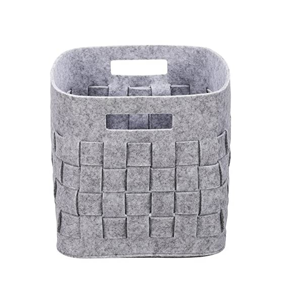 Handmade Foldable Baby Toy Book Snacks Organizer Storage Basket Multifunctional Collapsible Felt Storage Bin Container with Handle Light Grey - 100% handmade 5mm thickness felt storage baskets, it's environmental friendly. Wear-resistant material, it can be used for a long time. The large capacity storage cubes can organizer toys, CDs, books, newspapers, magazines art/craft supplies, clothes, shoes, snacks and more It's a good storage helper for your whole family. Foldable storage bins is space-saving.you could fold it up,when you don't use it or when you need it for a trip. It's very convenient to take along. - living-room-decor, living-room, baskets-storage - 51tFuS4YBTL. SS570  -