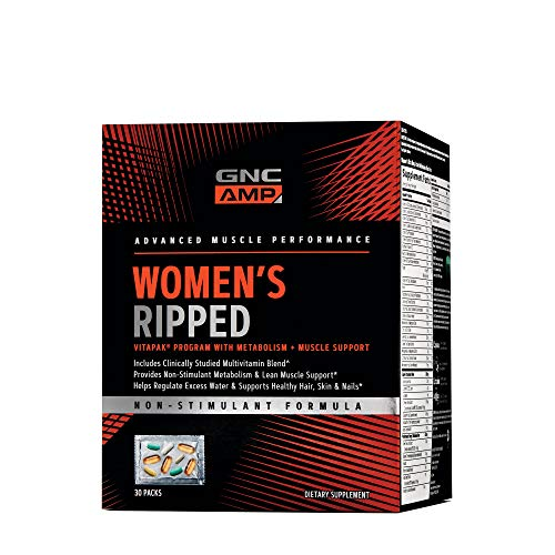 Ripped Stack - GNC Pro Performance AMP Womens Ripped Vitapak with Metabolism Muscle Support, 30 Packs
