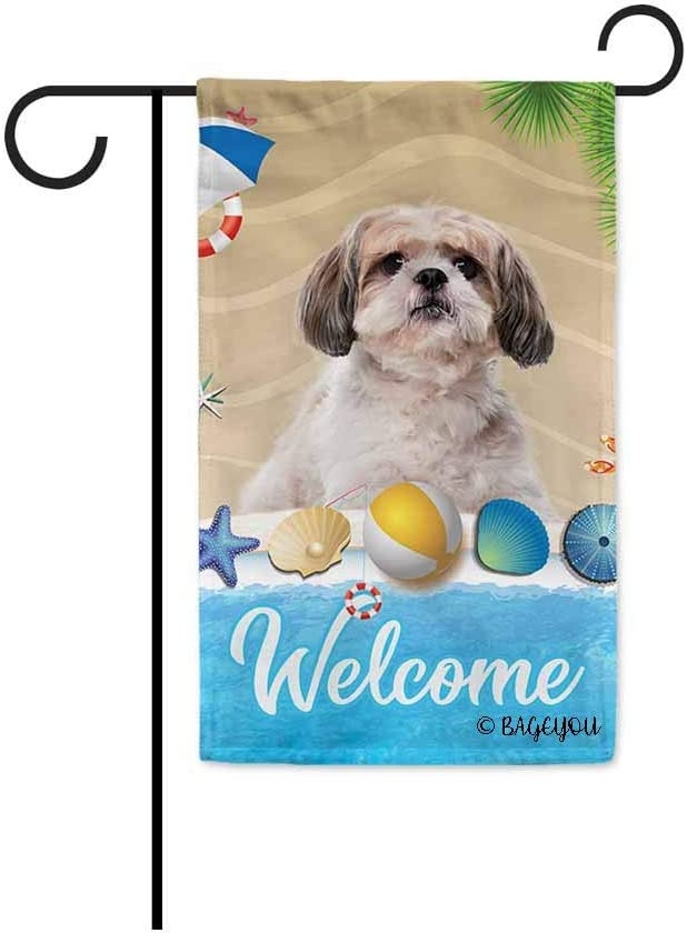 BAGEYOU Welcome Summer My Love Dog Shih Tzu in The Beach Decorative Garden Flag Lovely Puppy Seastar Shell Volleyball Decor Seasonal Banner for Outside 12.5 x 18 Inch Print Double Sided