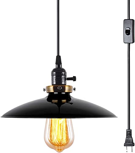 Lampundit Industrial Plug in Pendant Light E26 Industrial Hanging Light Metal Vintage Pendant Light Fixture with 15.6Ft Hanging Cord and ON Off Switch 1 Pack