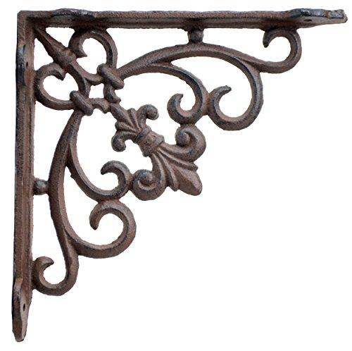 Wall Shelf Bracket Swirl Fleur De Lis Rust Brown Cast Iron Brace 7.5