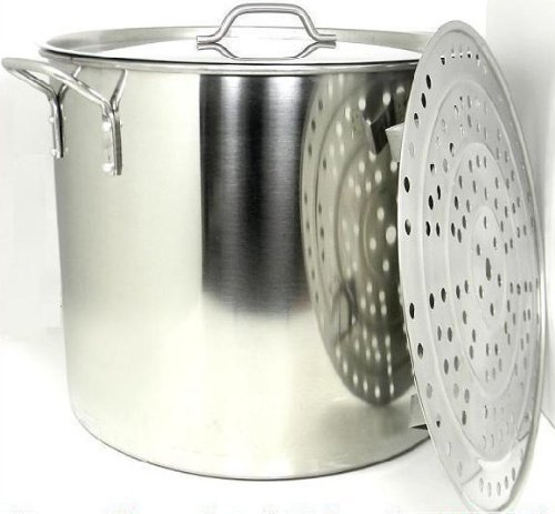 - 100 Quart Stainless Steel Stock Pot with Rack & Lid