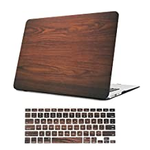 Macbook Air 11 inch Case,iCasso Rubber Coated Hard shell Plastic protective Case Cover for Apple Laptop Macbook Air 11 inch Model A1370/A1465 With Keyboard Cover (Brown Wood Grain)