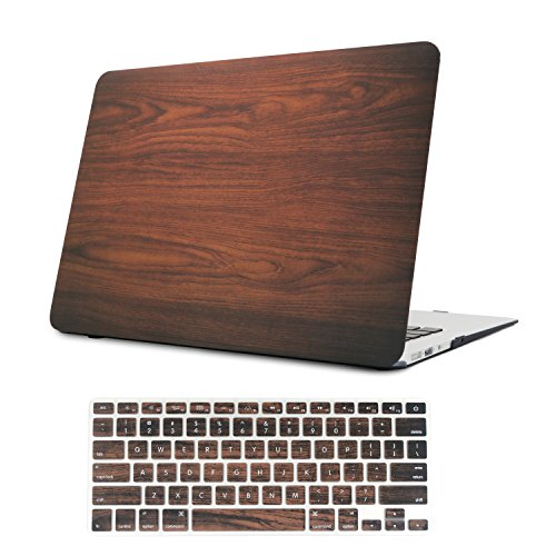 (iCasso 2 in 1 MacBook Air 13 Inch Case Durable Rubber Coated Plastic Cover for MacBook Air 13 Inch Model A1369/A1466 with Keyboard Cover (Brown))