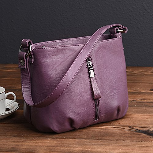 à Grande Purple Satchel Multicolore Mode Zipper En Bandoulière Main Sac Pour Pu Cuir Sac Lady Femme Capacité Sac Fourre Bandoulière Casual À Tout BBwqPat