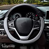 Valleycomfy Microfiber Leather Steering Wheel Covers Universal 15 inch (Gray)
