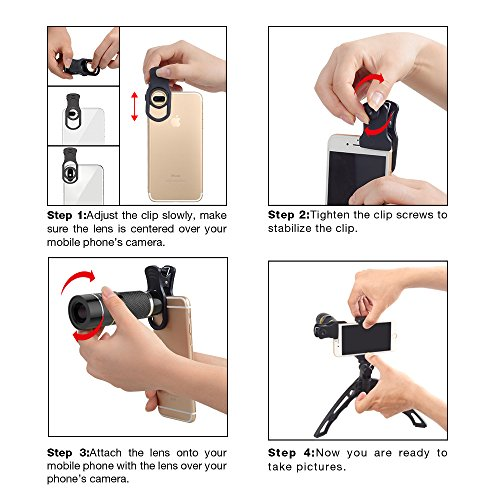 Apexel Cell Phone Telephoto Lens, Universal High Power 20X Mobile Phone Lens Portable Clip-on Camera Attachment for iPhone X/8/7/6s/6Plus/, Samsung Galaxy, Android and Most Smartphones by Apexel (Image #3)
