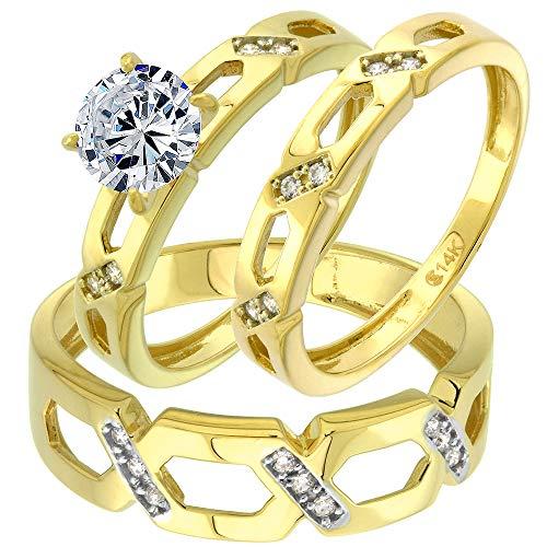14K Yellow Gold Cubic Zirconia Trio Wedding Ring Set 3 Piece Criss Cross L 5-10 M 8-14, Ladies size 9.5
