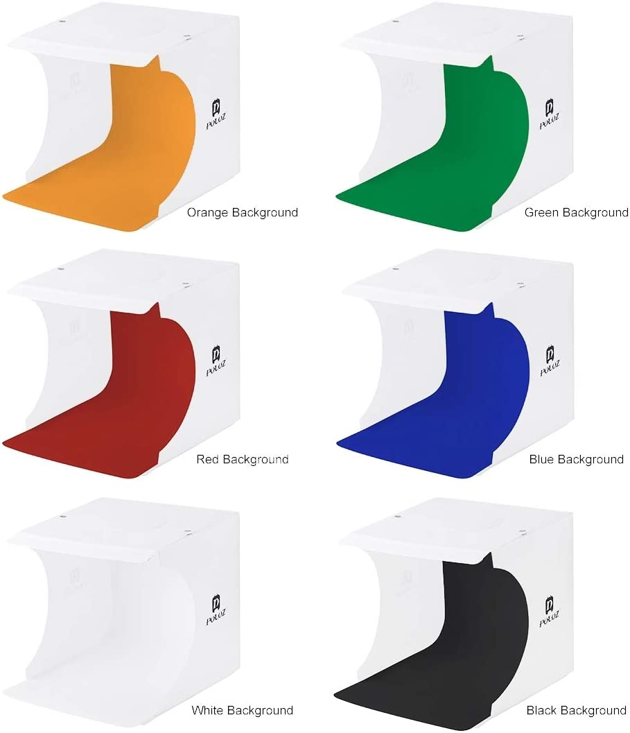 Black, White, Orange, Red, Green, Blue Unfold Size: 24cm x 23cm x 22cm FoldablessYHM PULUZ 20cm Folding Portable 550LM Light Photo Lighting Studio Shooting Tent Box Kit with 6 Colors Backdrops