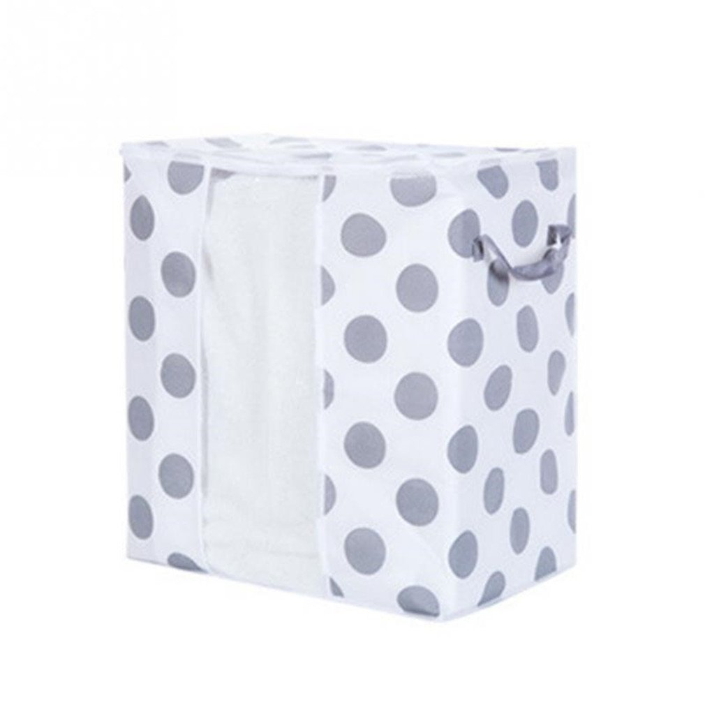KIEJDH Non-Woven Fabrics Luggage Storage Bags Foldable Clothes Quilt Blanket Pillow Organizer Bag With 2 Handles And Window Dots S