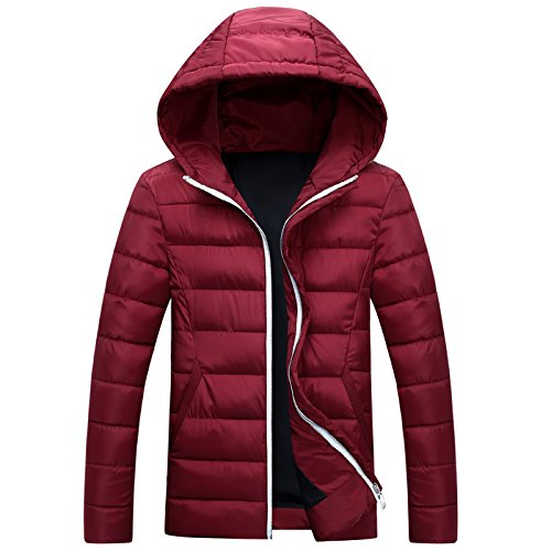 Winter Warm Quilted Red Coat Padded Lsm Coat Collar Puffer Stand Outwear Jacket Men's XAEYwqg