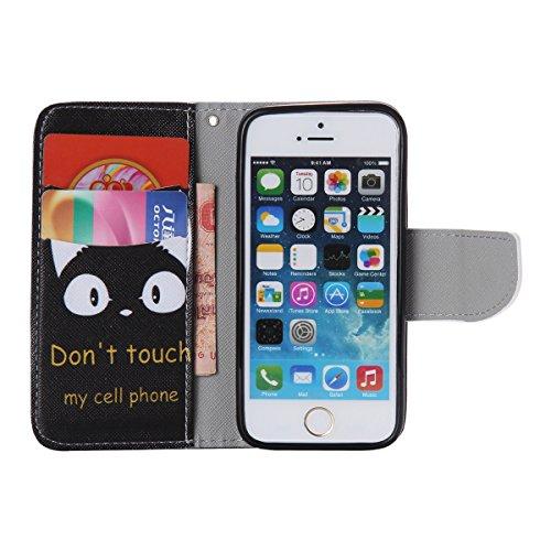 iPhone 5 / 5S Coque , Apple iPhone 5 / 5S Coque Lifetrut® [ Don't Touch My Phone ] Luxe Premium Portefeuille Flip mignon Coque TPU souple Folio en cuir PU intégré dans la carte Slots Coque Etui pour A