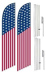 Viento Swooper bandera y poste Kit Twin Pack vertical la bandera americana