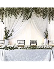 QueenDream White Chiffon Backdrop 9.8ftx10ft Wedding Party Backdrop Curtain Drape Stage Background Decorations for Wedding Party Events