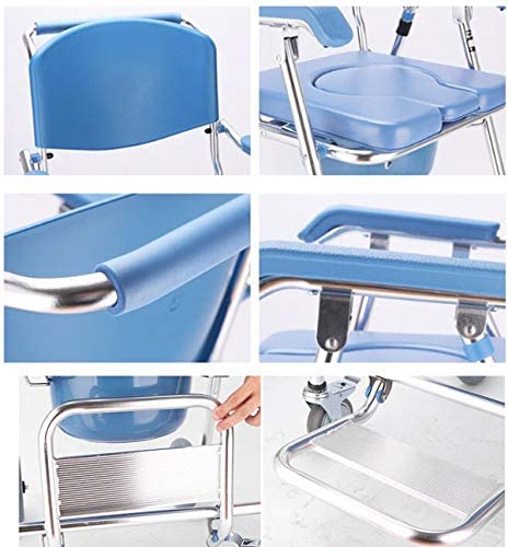 XGLL Aluminium Duschkabine Mobiler Stuhl, Faltbarer Dusch Rollstuhl für Behinderte, Schwangere, Ältere