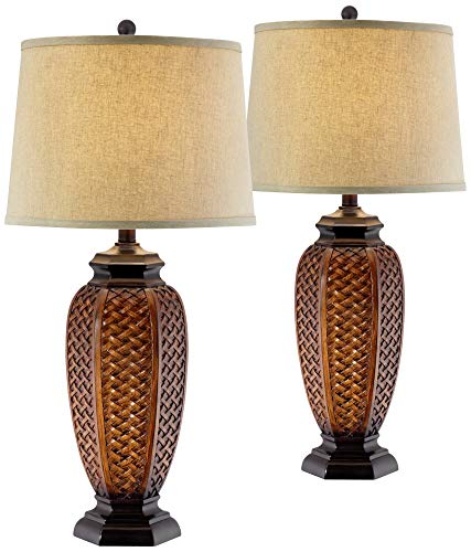Tropical Table Lamps Set of 2 Weathered Brown Woven Wicker Jar Beige Linen Drum Shade for Living Room Family Bedroom - Regency Hill ()