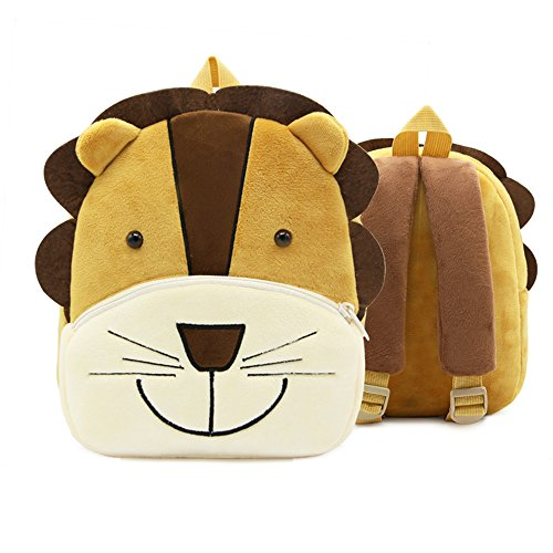 Cute Toddler Backpack,Cartoon Cute Animal Plush Backpack Toddler Mini School Bag for Kids Age 1-3 Years Old(lion)