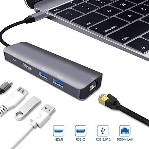 USB C Multiport Adapter for Apple iPad Pro 2018,MacBook Air 2018,MacBook Pro 2018,2017,2016,USB C Hub,HDMI 4K,Gigabit Ethernet,USB 3.0,Type-C PD Charging Dock,iMac Pro,Chromebook,Pixel,Dell XPS Dongle from RREAKA