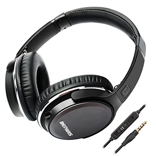 BENWIS Over Ear Headphones with Microphones Lightweight Foldable Hi-Fi Stereo Wired Headsets for Computer Cell Phones MP3, Black