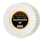 Elite Selection Pack Of 50 Salad / Desert Disposable Plastic Plates Cream ...