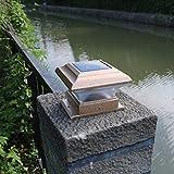 TFCFL 6PCs Outdoor 4X4 Garden Solar Copper Post Deck Cap Square Fence Light Plastic LED
