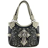 Justin West Embroidery Floral Glitter Bling Rhinestone Cross Shoulder Concealed Carry Handbag Purse Trifold Wallet (Black Grey Purse Only)