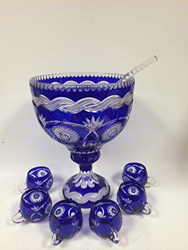 Cobalt Crystal Bowl - Crystal Cobalt Pedestal Punch Bowl Set of 8 Hand Made H 15.5