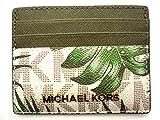 MICHAEL Michael Kors Jet Set Travel LG Leather Card Holder Case (Vanilla/Olive MK Signature)