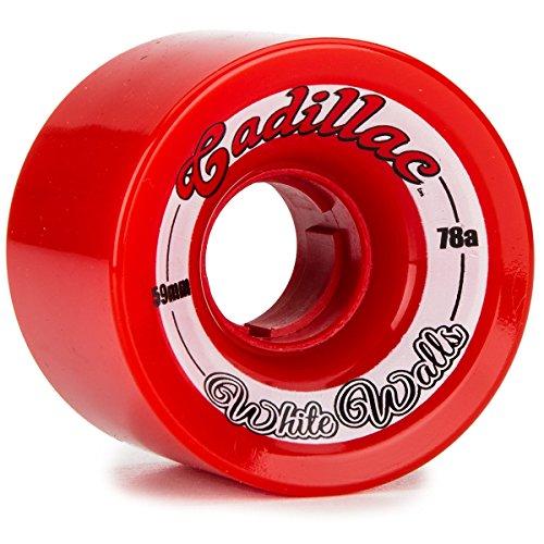 消費フォームひどくCadillacホワイト壁Longboard Wheels – 59 mm 78 a – レッド