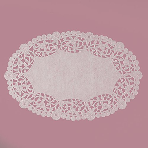 White Oval Lace Paper Doilies 6
