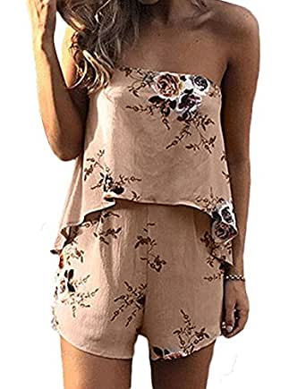 333241b25a20 Women s Boho Floral Print Off Shoulder Sleeveless Romper Playsuit (US 4-6    Label