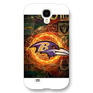 Customized NFL Series For Case Samsung Note 4 Cover , NFL Team Baltimore Ravens Logo For Case Samsung Note 4 Cover , Only Fit For Case Samsung Note 4 Cover (White Frosted Shell)
