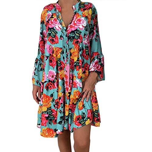 (Lemoning❀ Women's Ladies Loose Print Three Quarter Sleeve Mini Dress Summer)